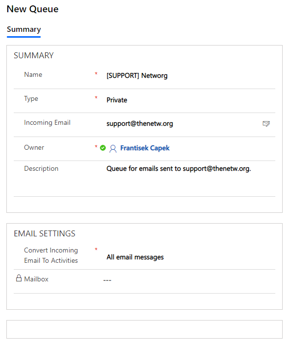 This is an example of a queue for shared mailbox support@thenetw.org in Dynamics CRM.